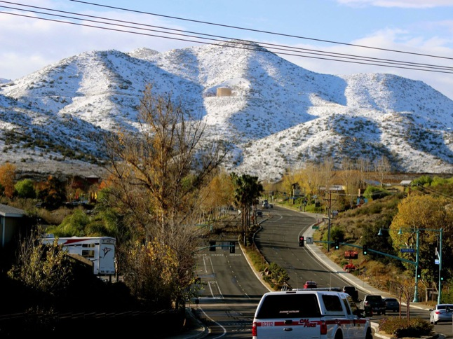 2014 ends with surrounding hills covered in snow