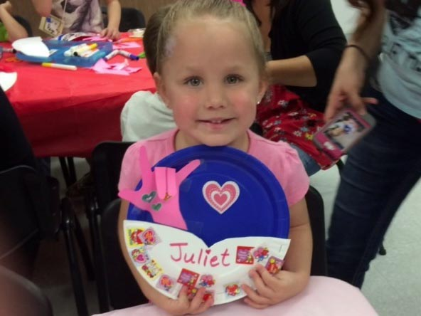 Kids 'pink out' during Valentine program at Library