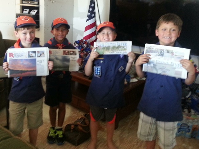 Cub Scouts write about 4th of July