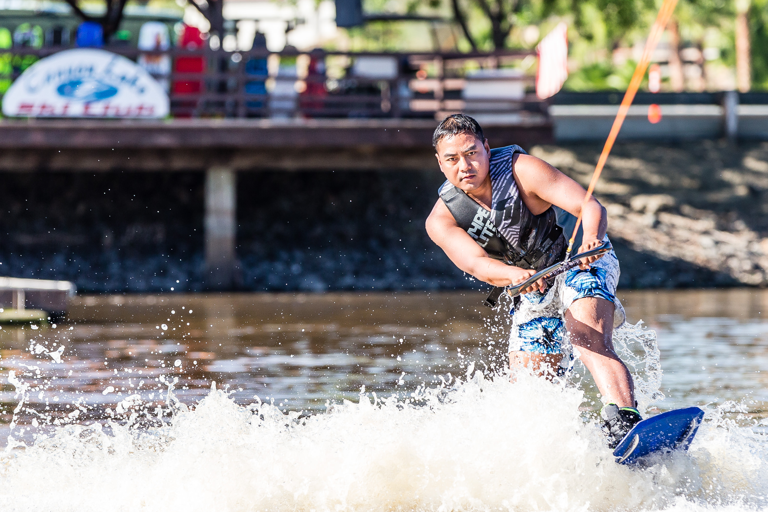 Rain and runoff doesn't deter wake boarders