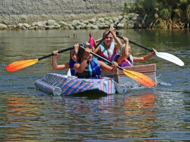 Boats of cardboard and duct tape race in East Bay